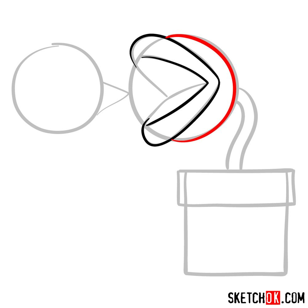 How to draw Fire Piranha Plant throwing a fireball - step 04