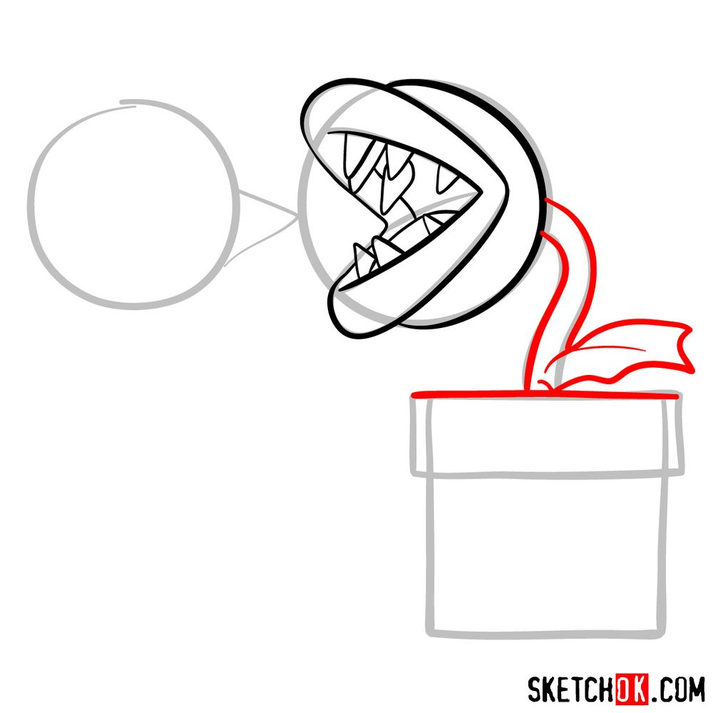 How to draw Fire Piranha Plant throwing a fireball - step 07