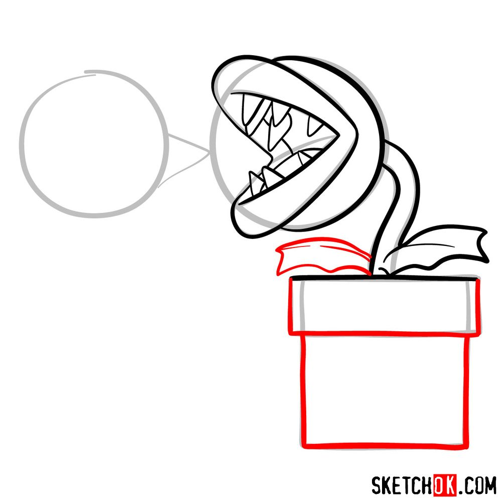 How to draw Fire Piranha Plant throwing a fireball - step 08