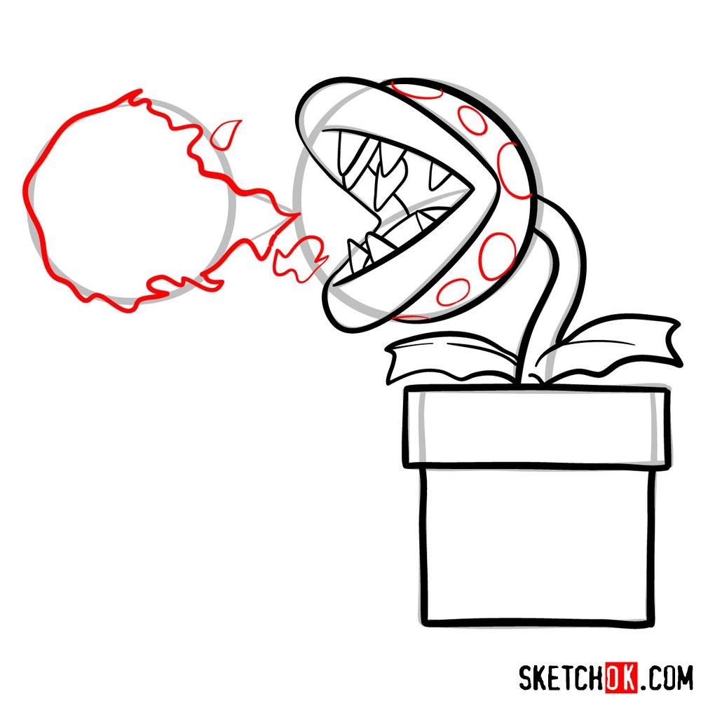 How to draw Fire Piranha Plant throwing a fireball - step 09