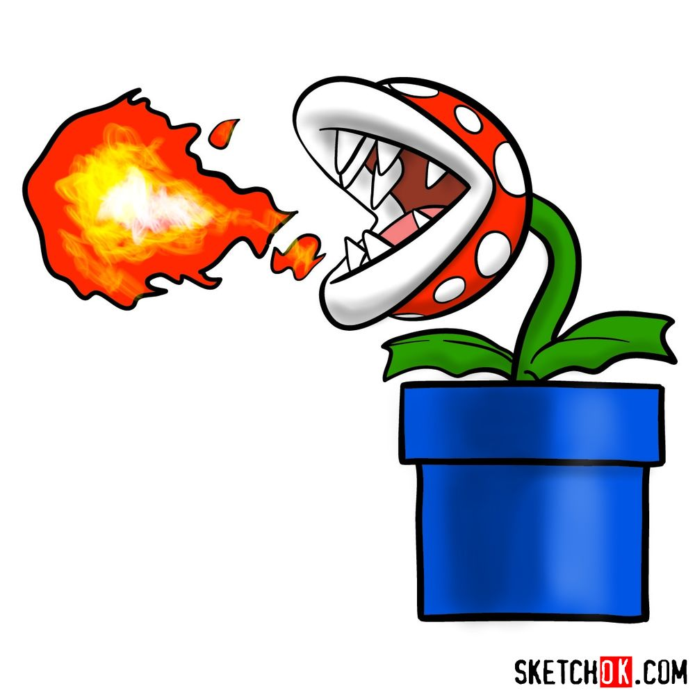 How to draw Fire Piranha Plant throwing a fireball