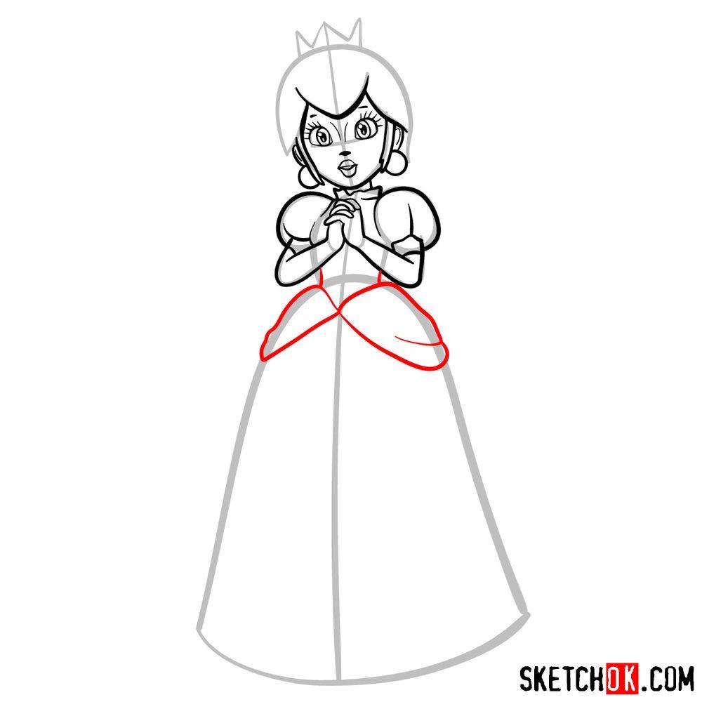 How to draw Princess Peach (Super Mario) - step 09