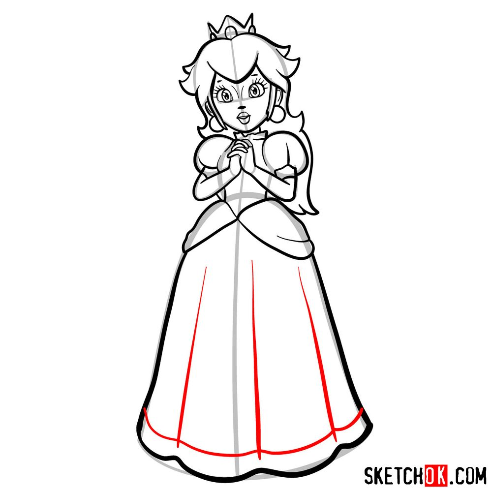 How to draw Princess Peach (Super Mario) - step 12