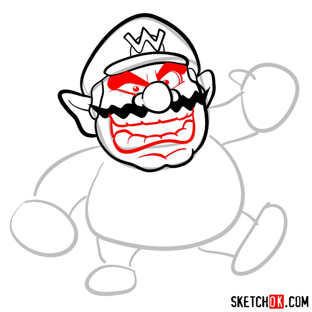 How to draw Wario from Super Mario games - step 05