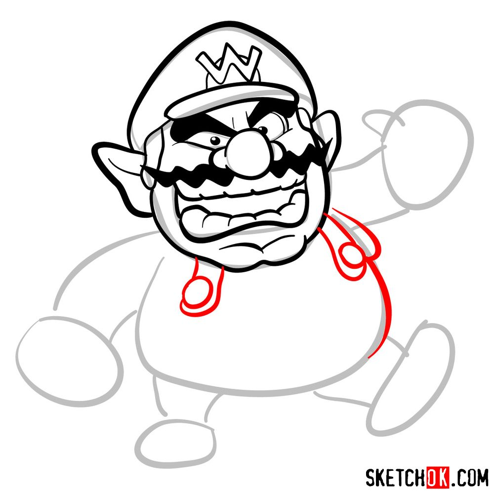 How to draw Wario from Super Mario games - step 06