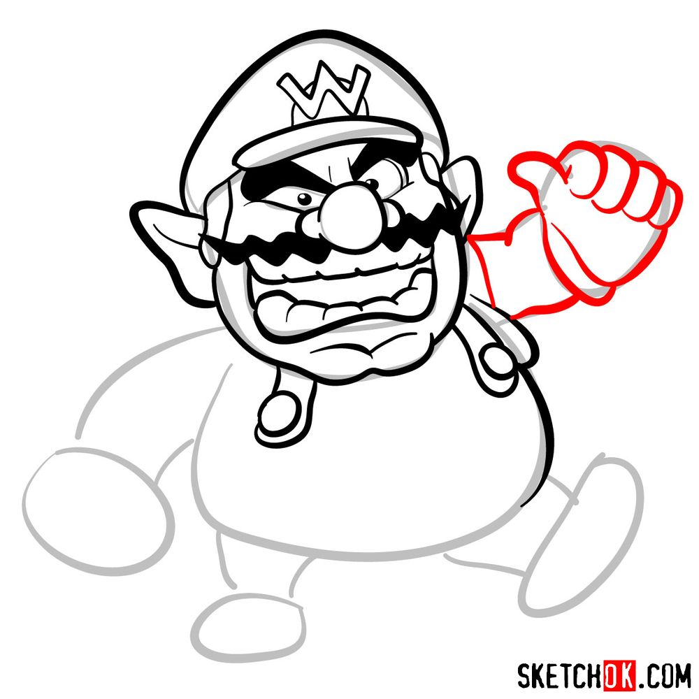 How to draw Wario from Super Mario games - step 07