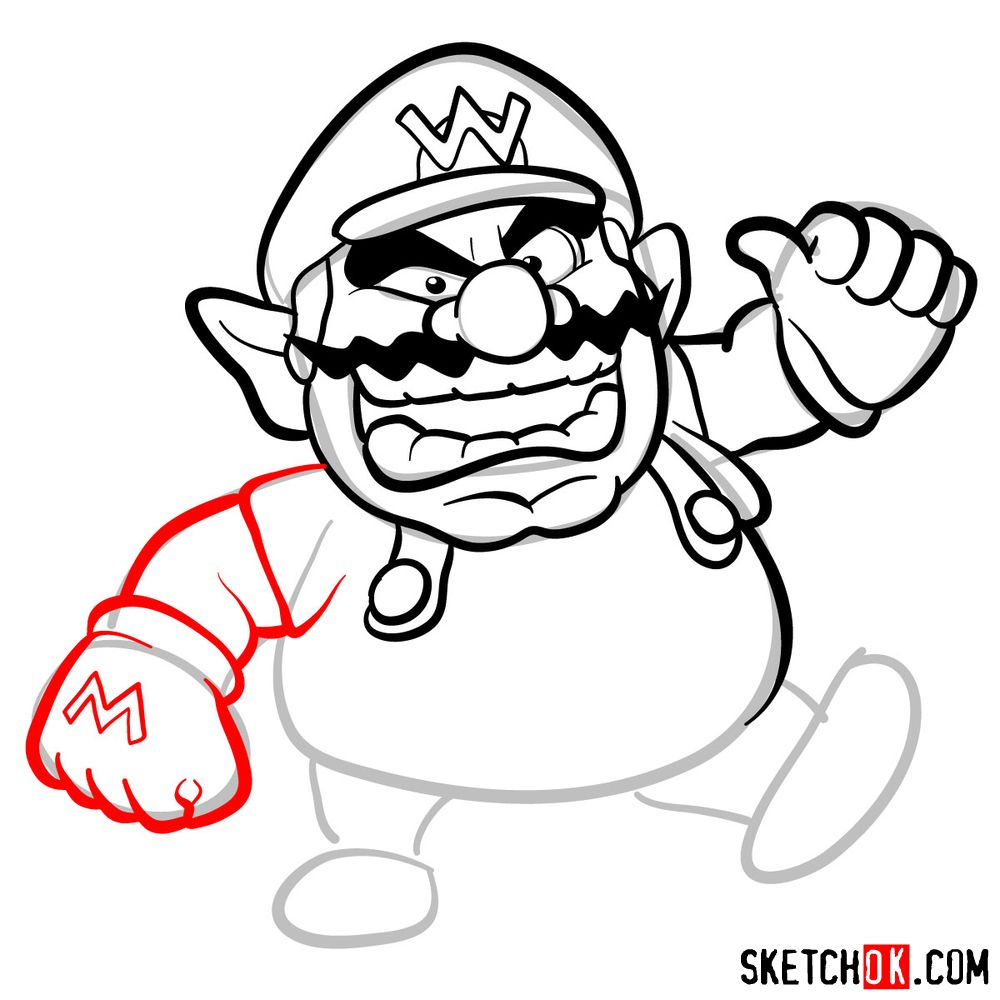 How to draw Wario from Super Mario games - step 08