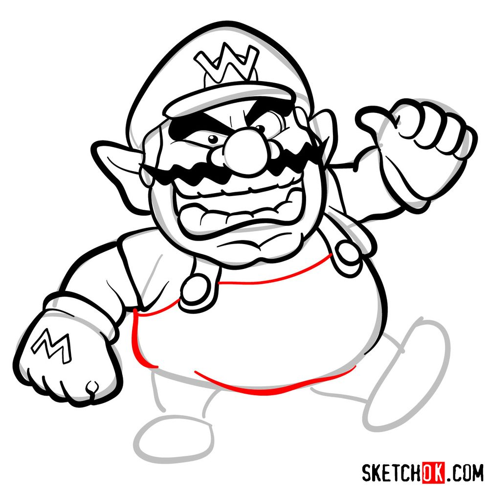 How to draw Wario from Super Mario games - step 09