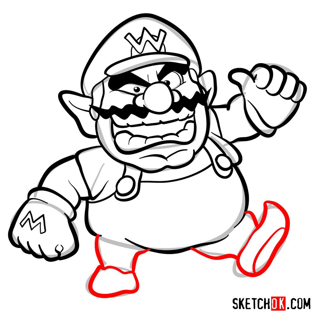 How to draw Wario from Super Mario games - step 10
