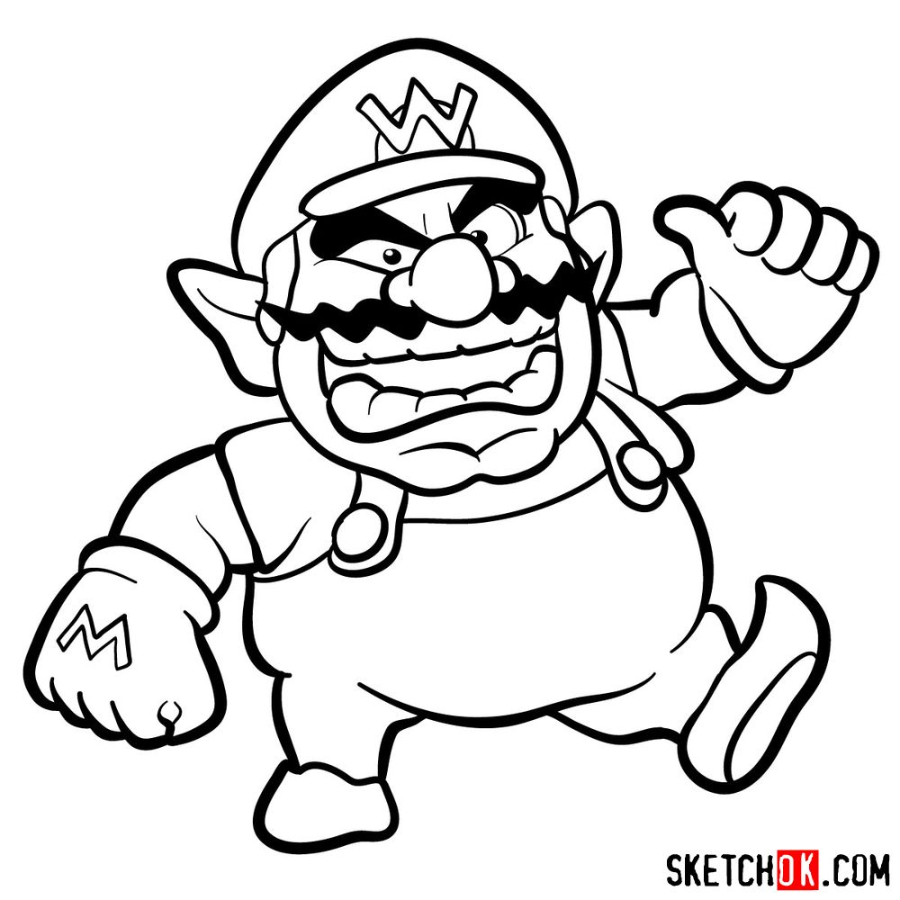 How to draw Wario from Super Mario games - step 11