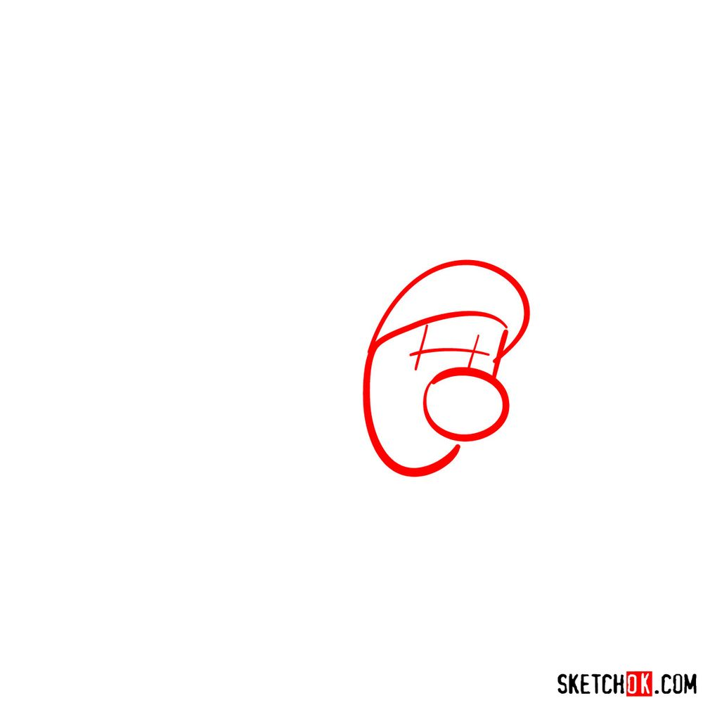 How to draw cat Luigi - step 01