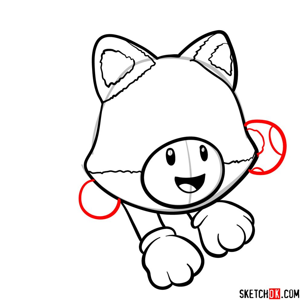 How to draw cat Toadette - step 08