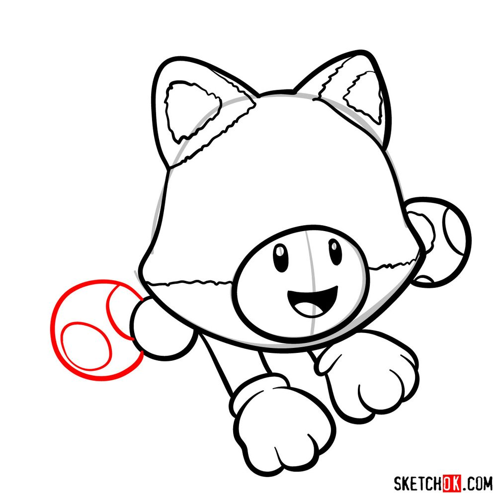 How to draw cat Toadette - step 09