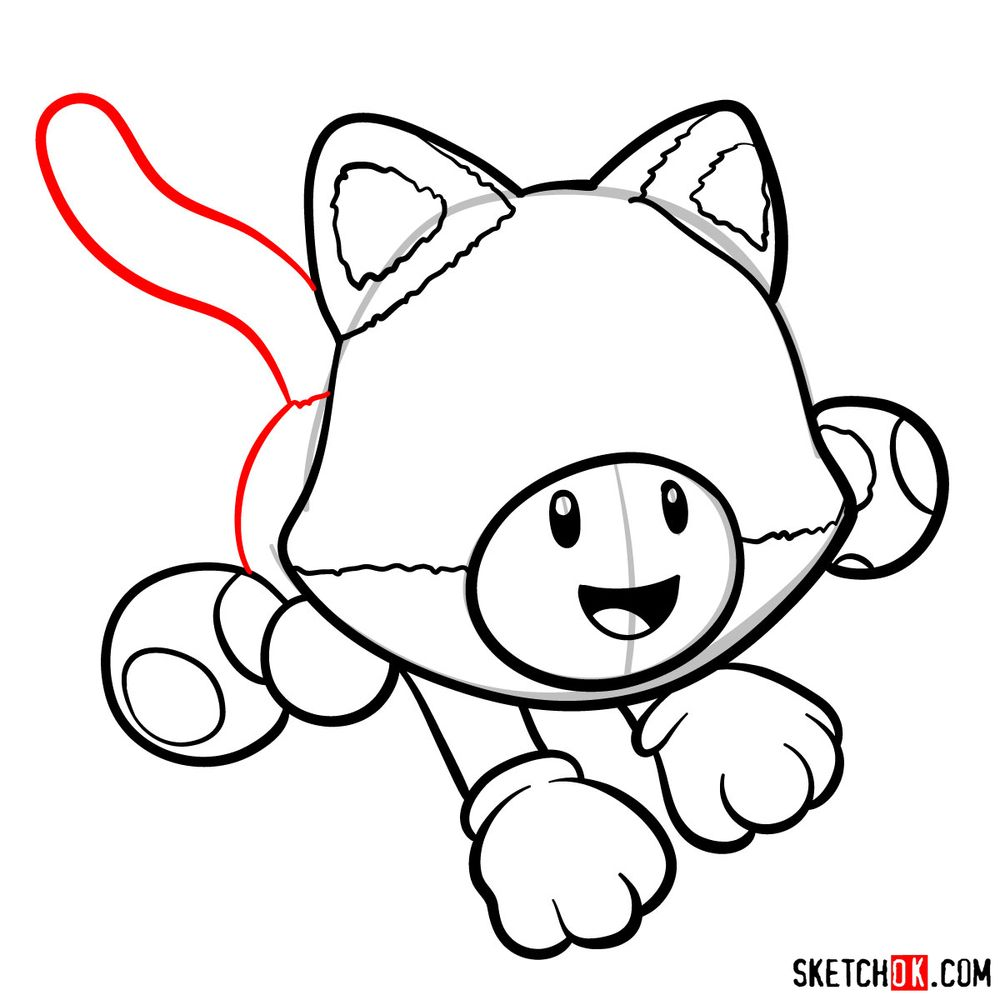 How to draw cat Toadette - step 10