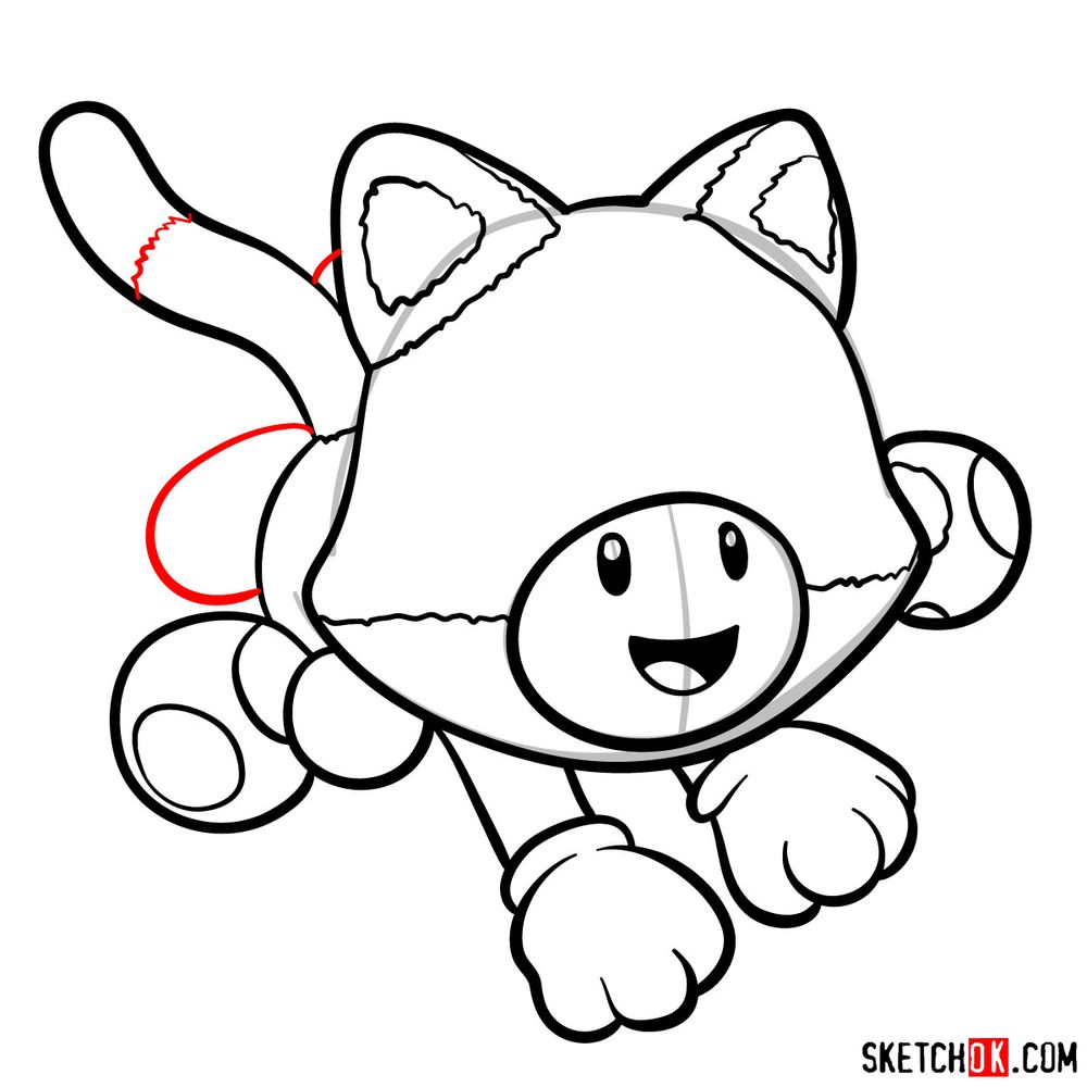 How to draw cat Toadette - step 11
