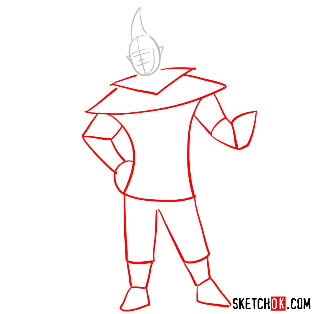 How to draw Groose from The Legend of Zelda game - step 02