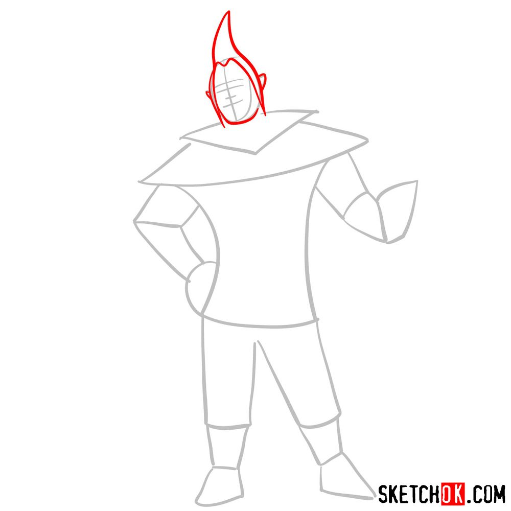 How to draw Groose from The Legend of Zelda game - step 03