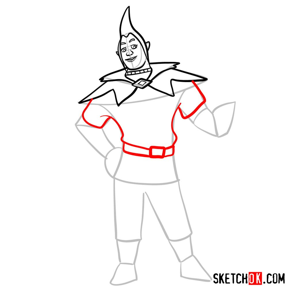 How to draw Groose from The Legend of Zelda game - step 07
