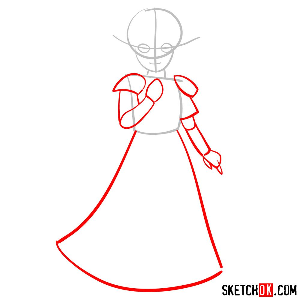 How to draw Princess Zelda (A Link to the Past) - step 02