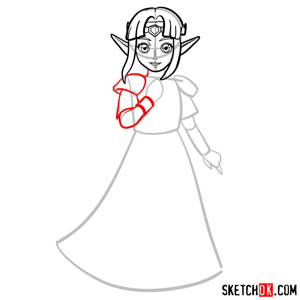 How to draw Princess Zelda (A Link to the Past) - step 06