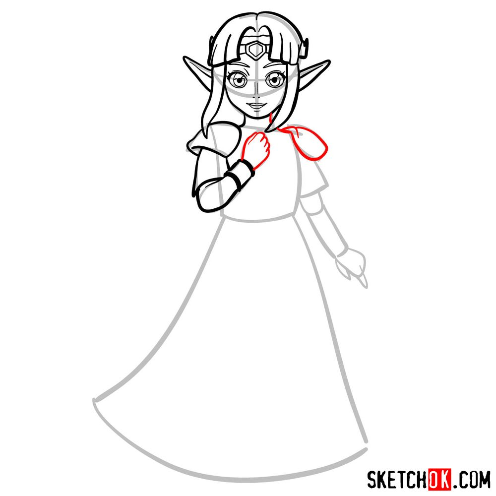 How to draw Princess Zelda (A Link to the Past) - step 07