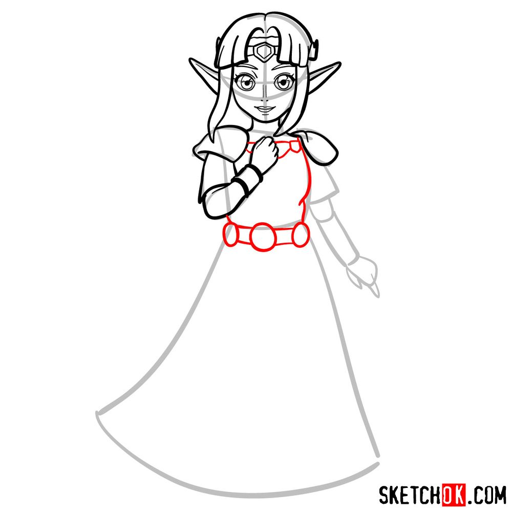 How to draw Princess Zelda (A Link to the Past) - step 08