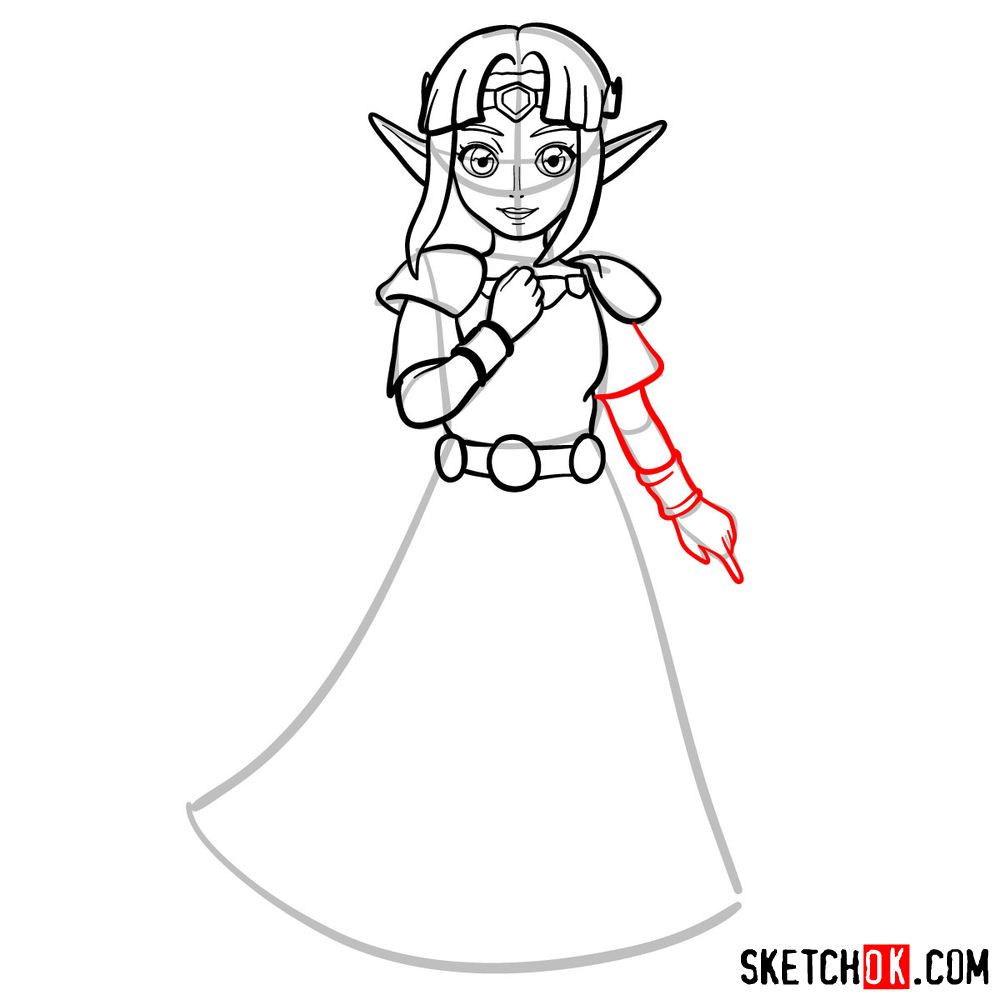 How to draw Princess Zelda (A Link to the Past) - step 09