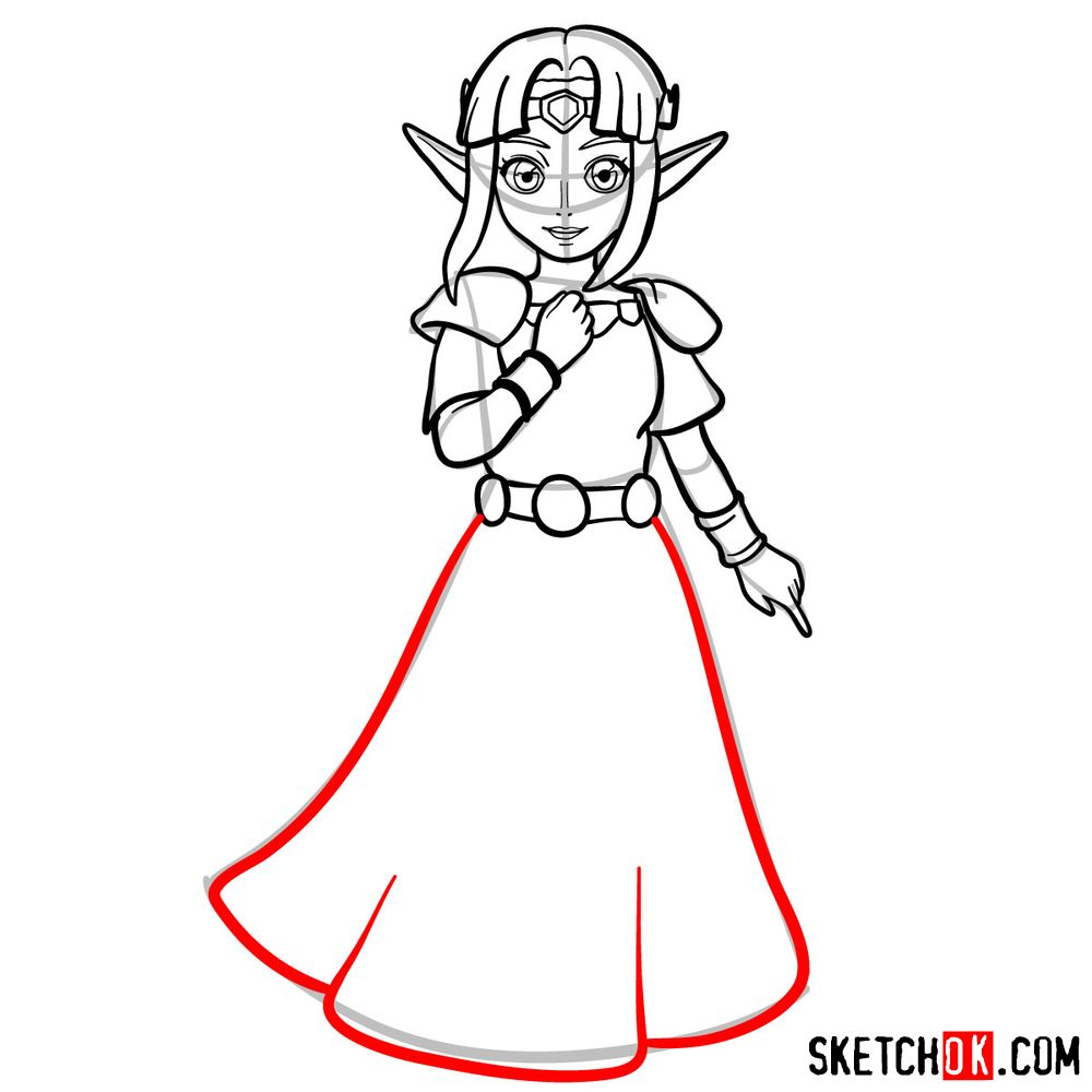 How to draw Princess Zelda (A Link to the Past) - step 10