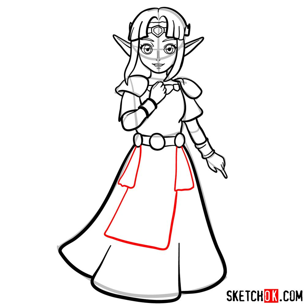 How to draw Princess Zelda (A Link to the Past) - step 11