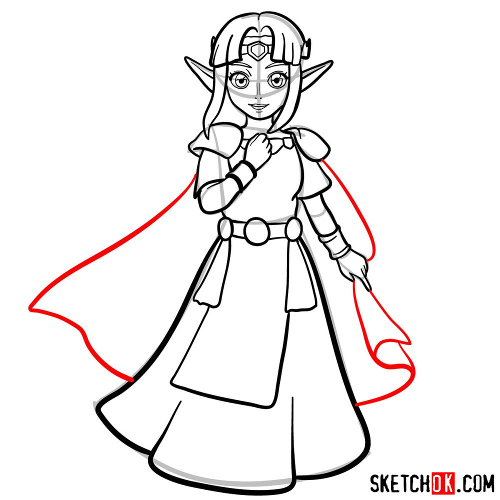 How to draw Princess Zelda (A Link to the Past) - step 12