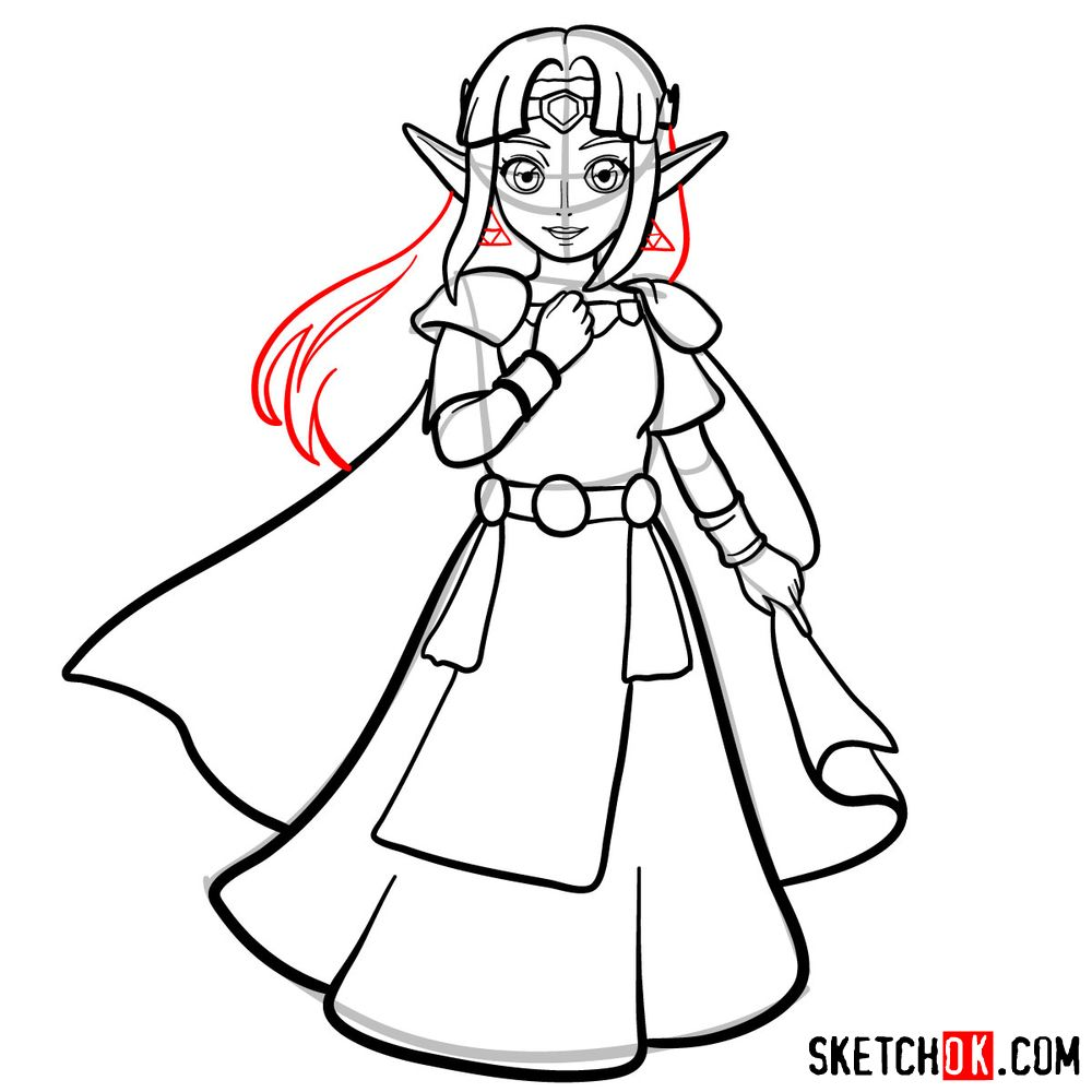 How to draw Princess Zelda (A Link to the Past) - step 13