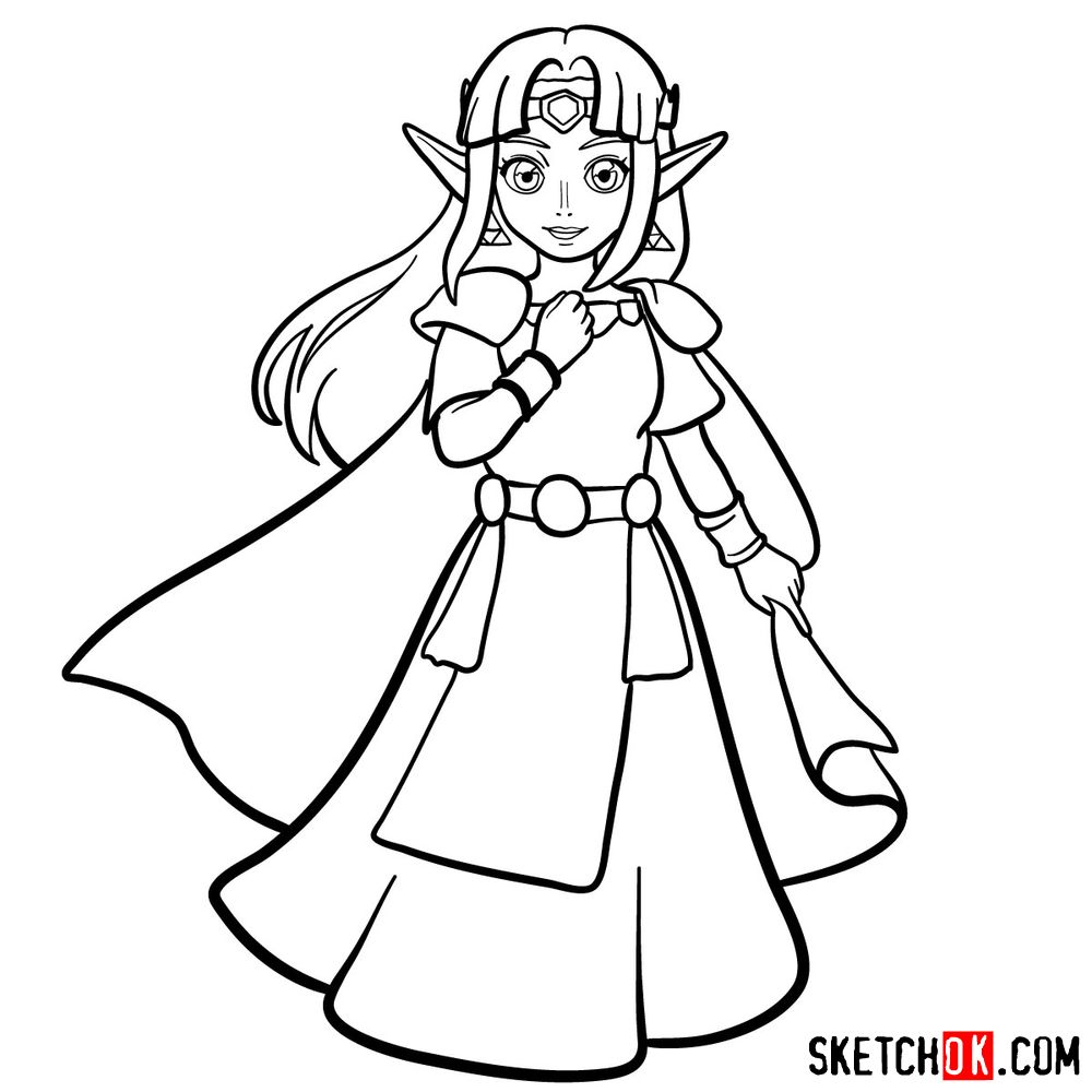 How to draw Princess Zelda (A Link to the Past) - step 14