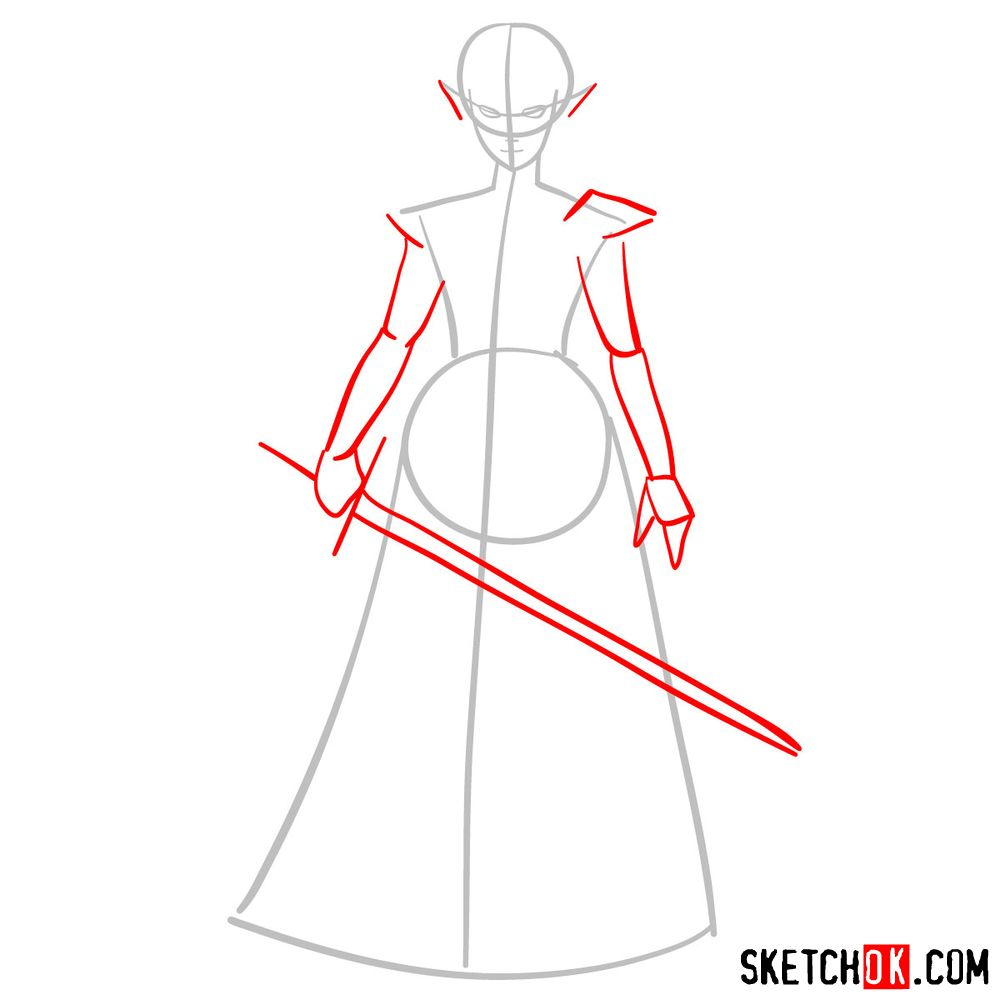 How to draw Princess Zelda (Ocarina of Time) - step 02