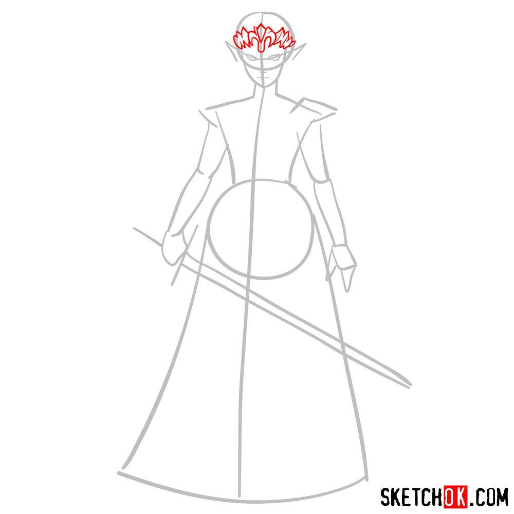 How to draw Princess Zelda (Ocarina of Time) - step 03
