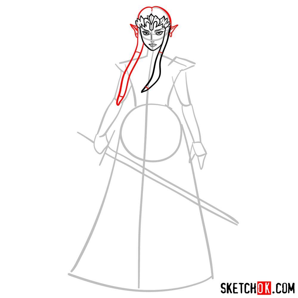 How to draw Princess Zelda (Ocarina of Time) - step 06
