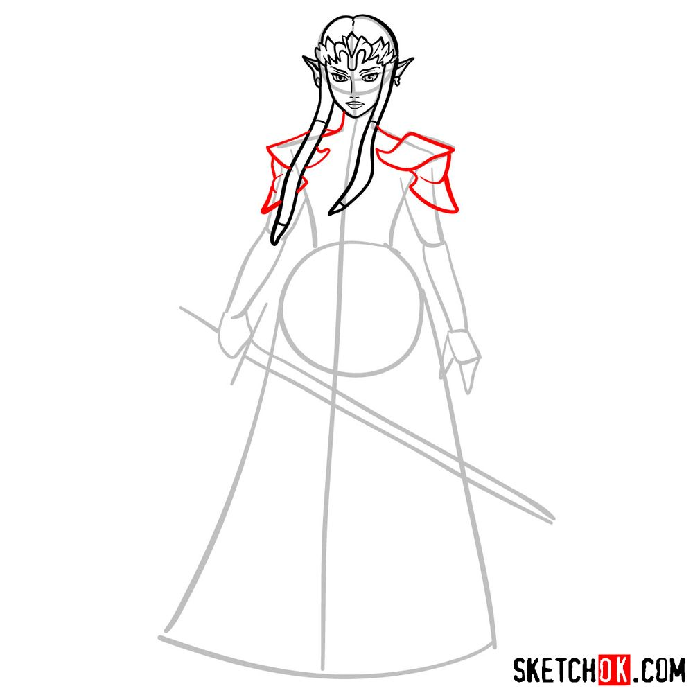 How to draw Princess Zelda (Ocarina of Time) - step 07