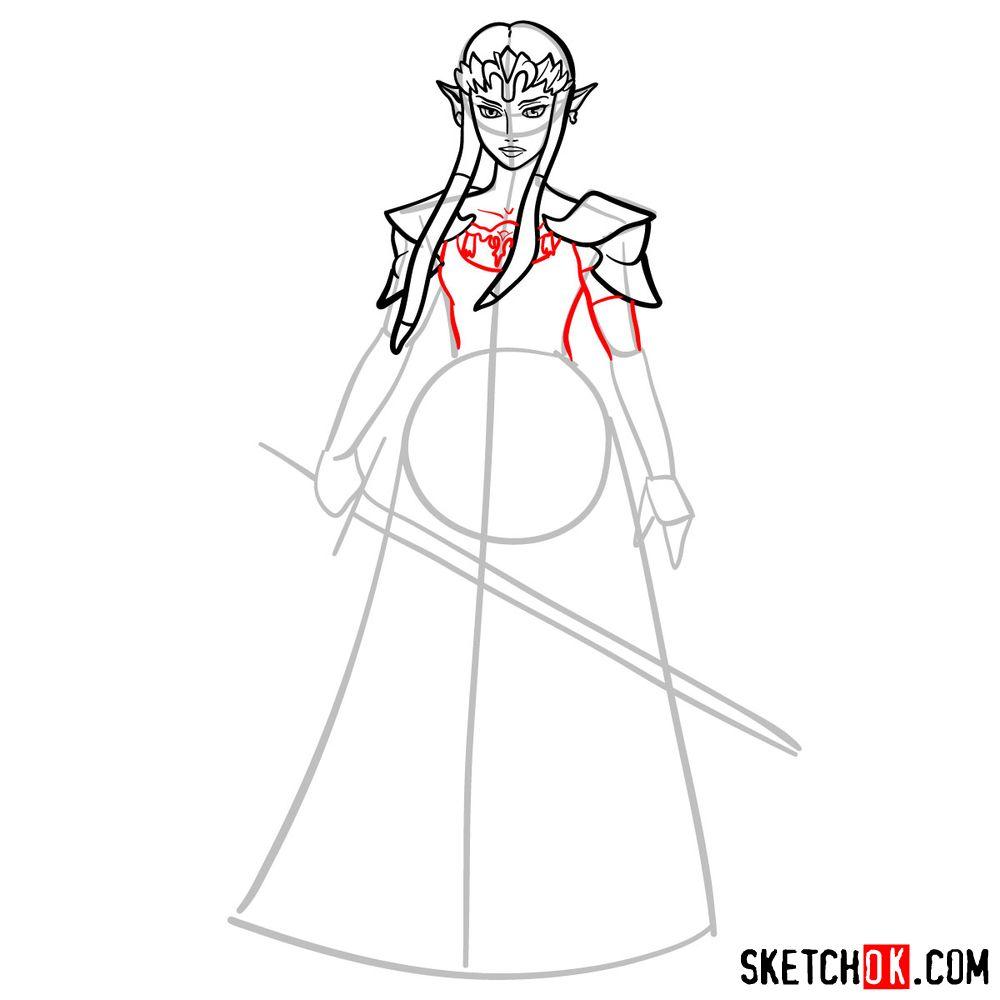 How to draw Princess Zelda (Ocarina of Time) - step 08