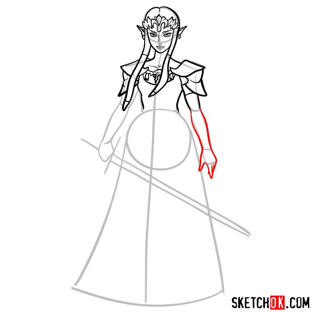 How to draw Princess Zelda (Ocarina of Time) - step 09