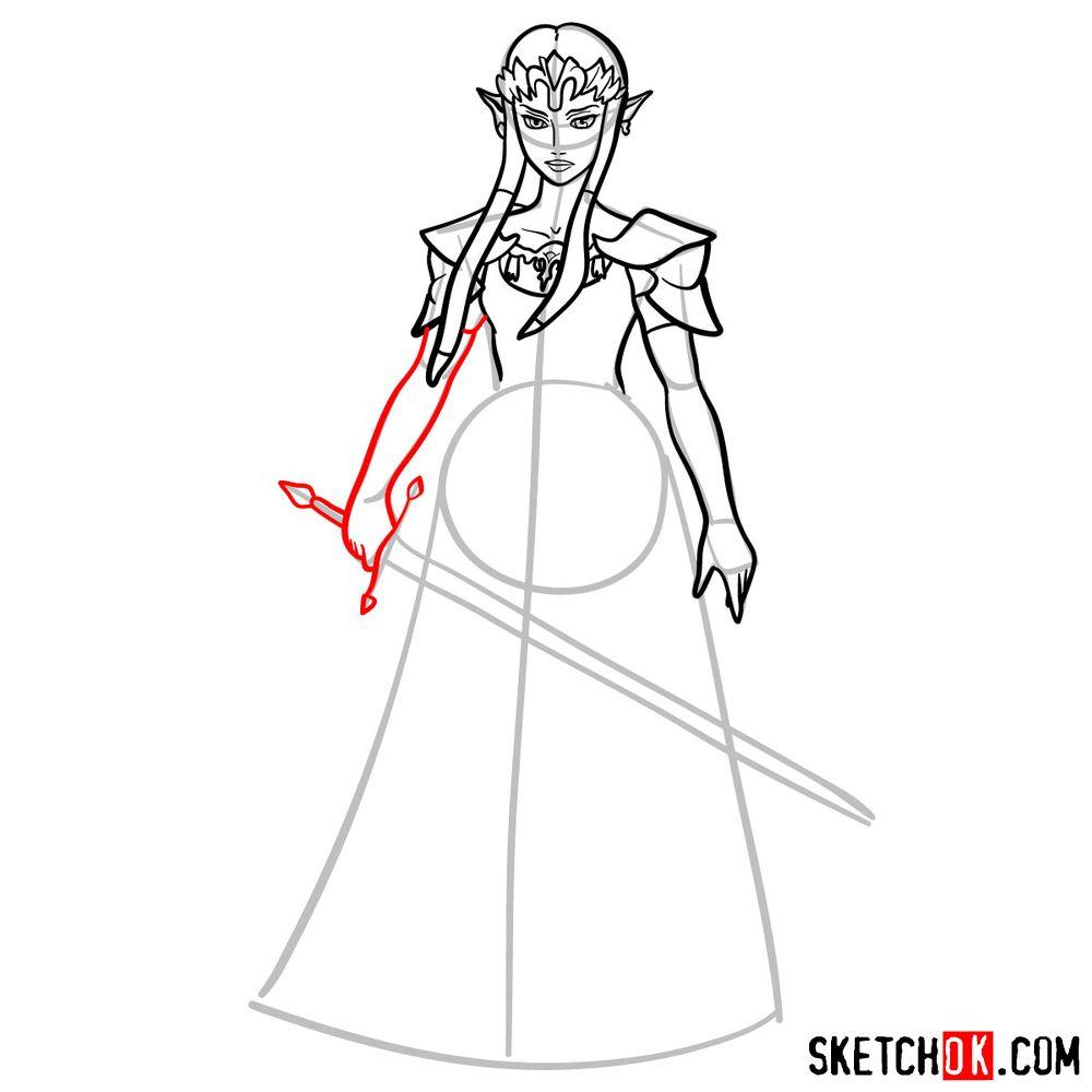 How to draw Princess Zelda (Ocarina of Time) - step 10