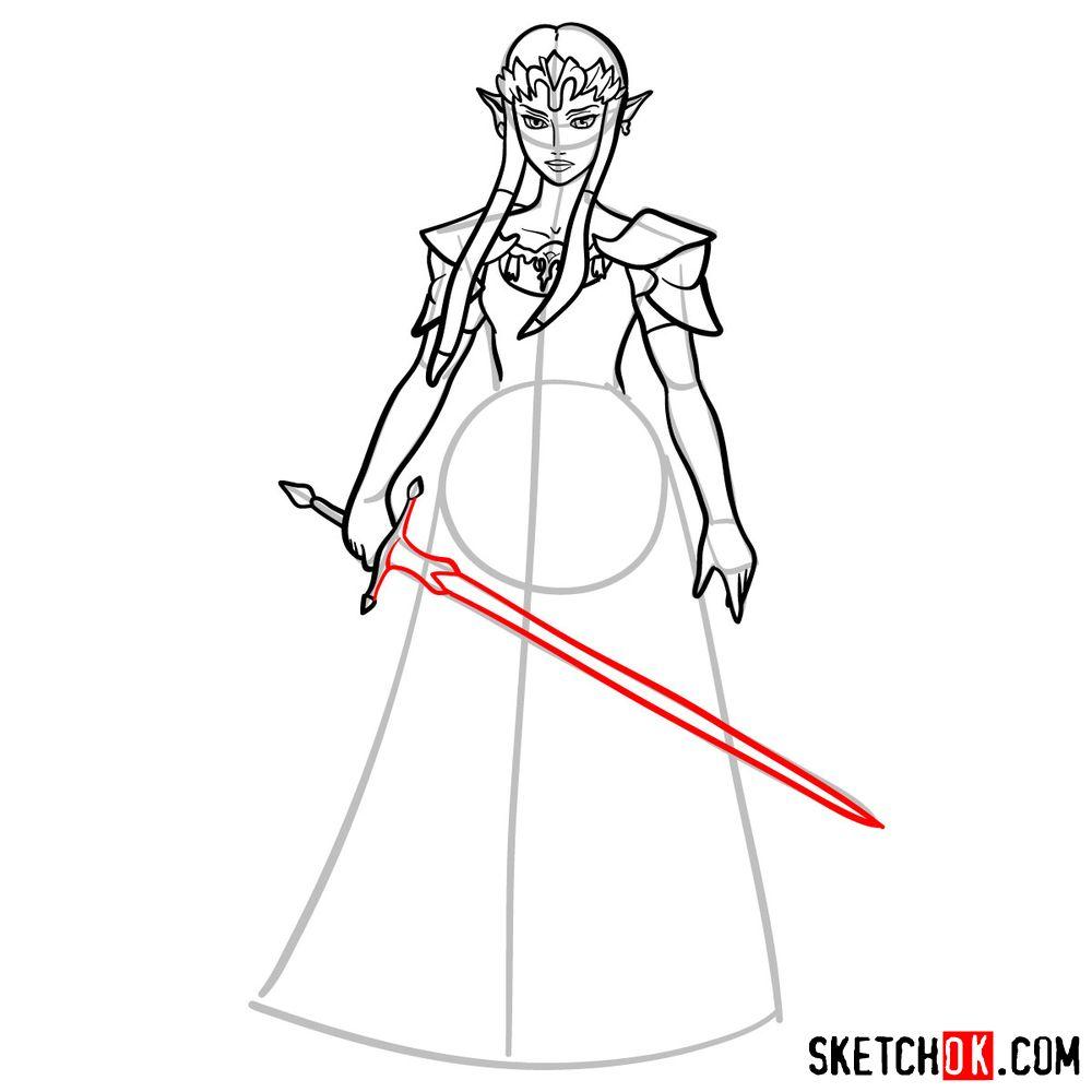 How to draw Princess Zelda (Ocarina of Time) - step 11