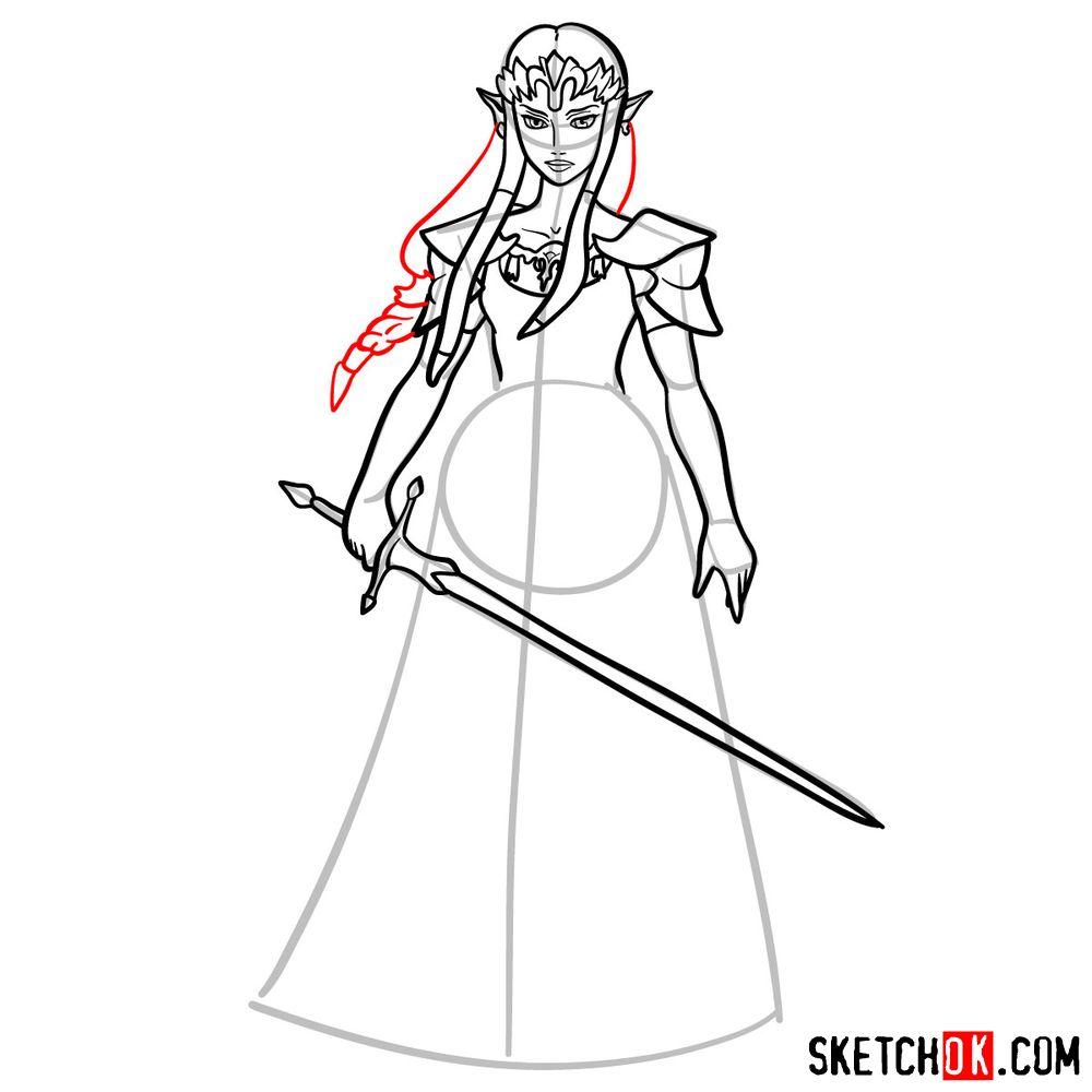 How to draw Princess Zelda (Ocarina of Time) - step 12