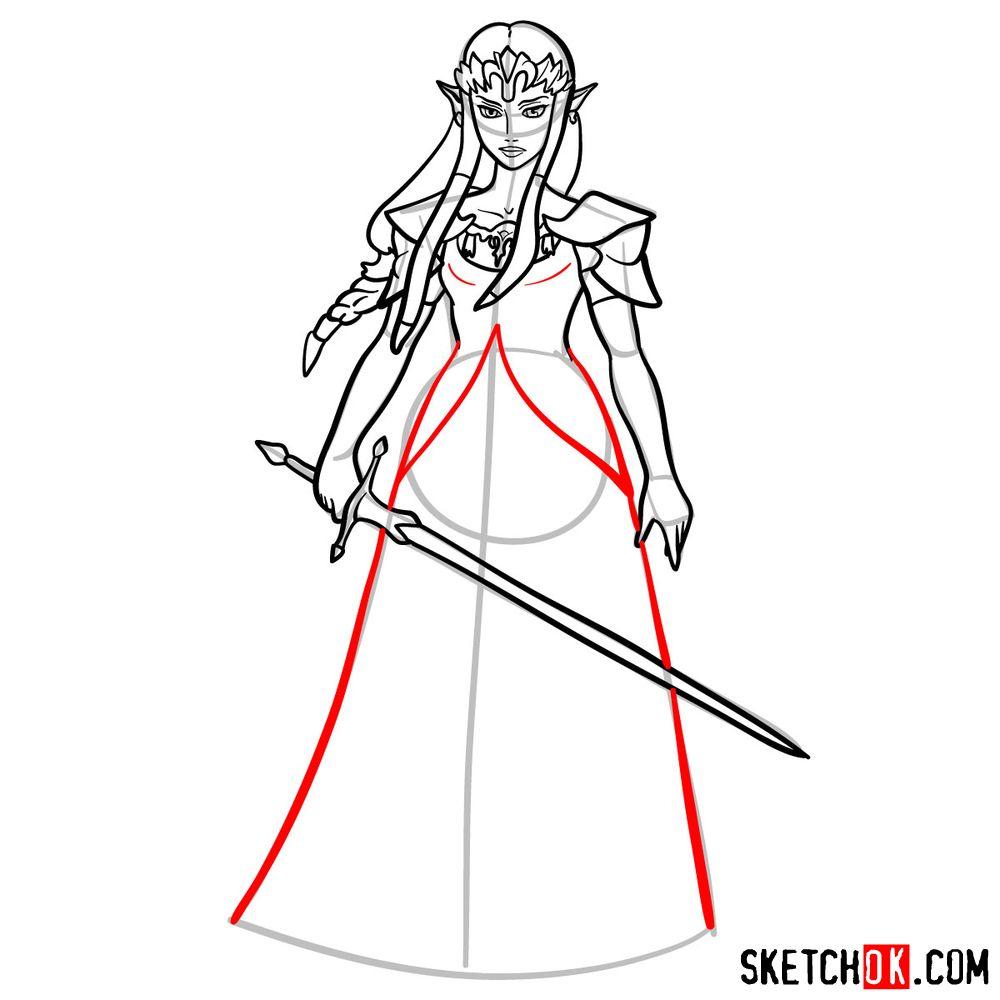 How to draw Princess Zelda (Ocarina of Time) - step 13
