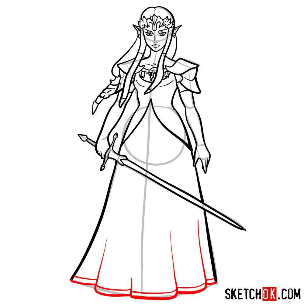 How to draw Princess Zelda (Ocarina of Time) - step 14
