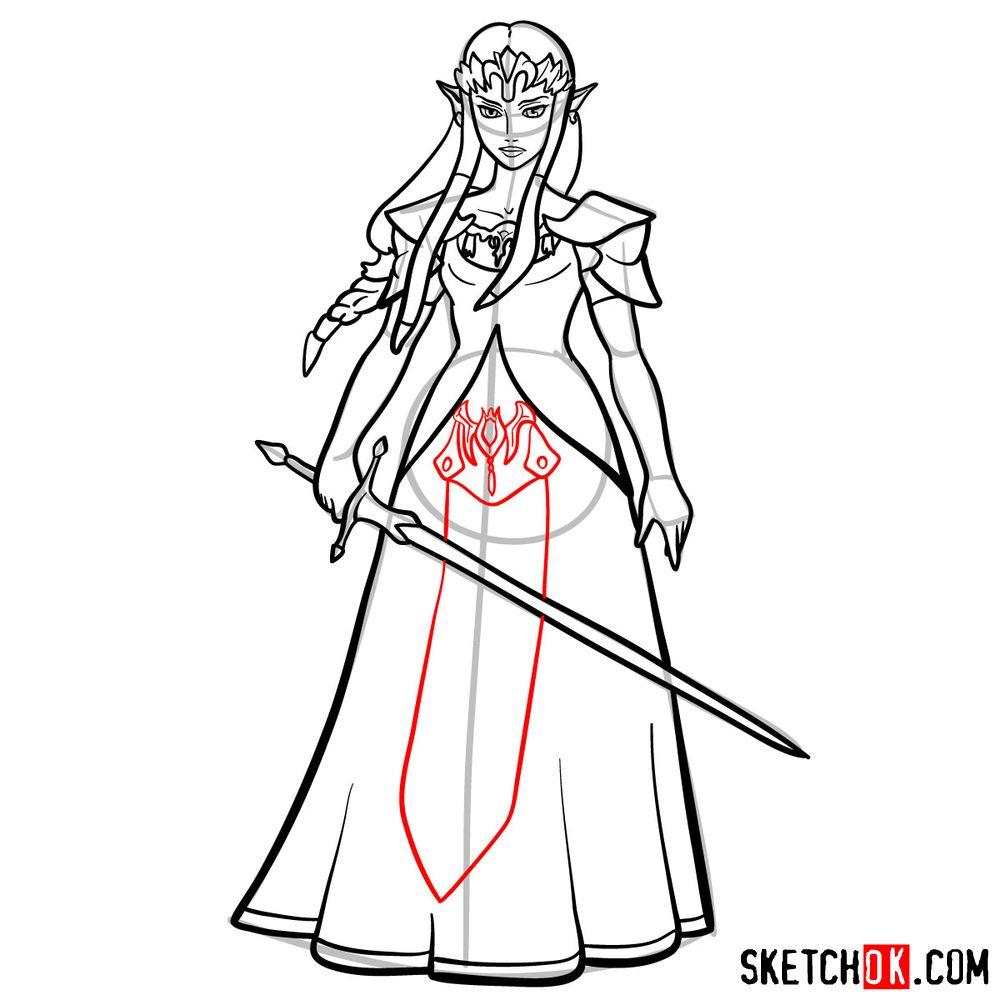 How to draw Princess Zelda (Ocarina of Time) - step 15