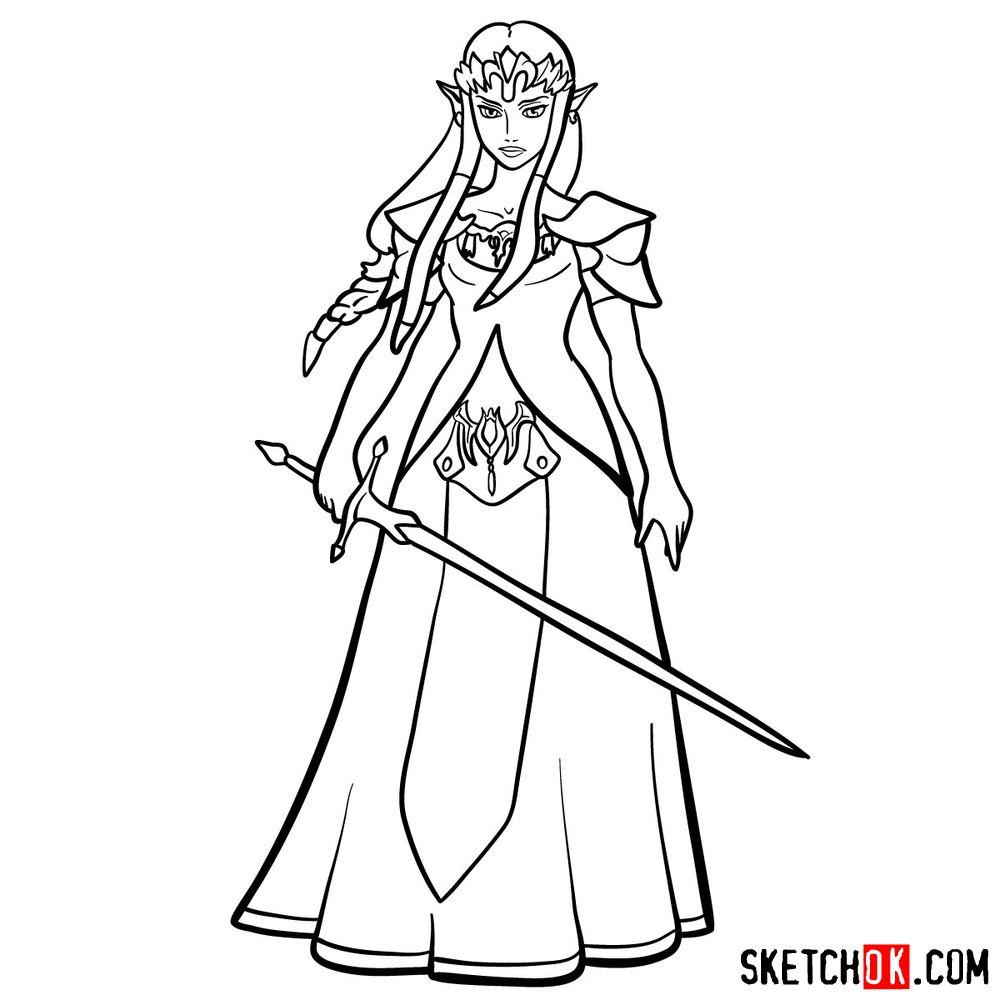 How to draw Princess Zelda (Ocarina of Time) - step 16