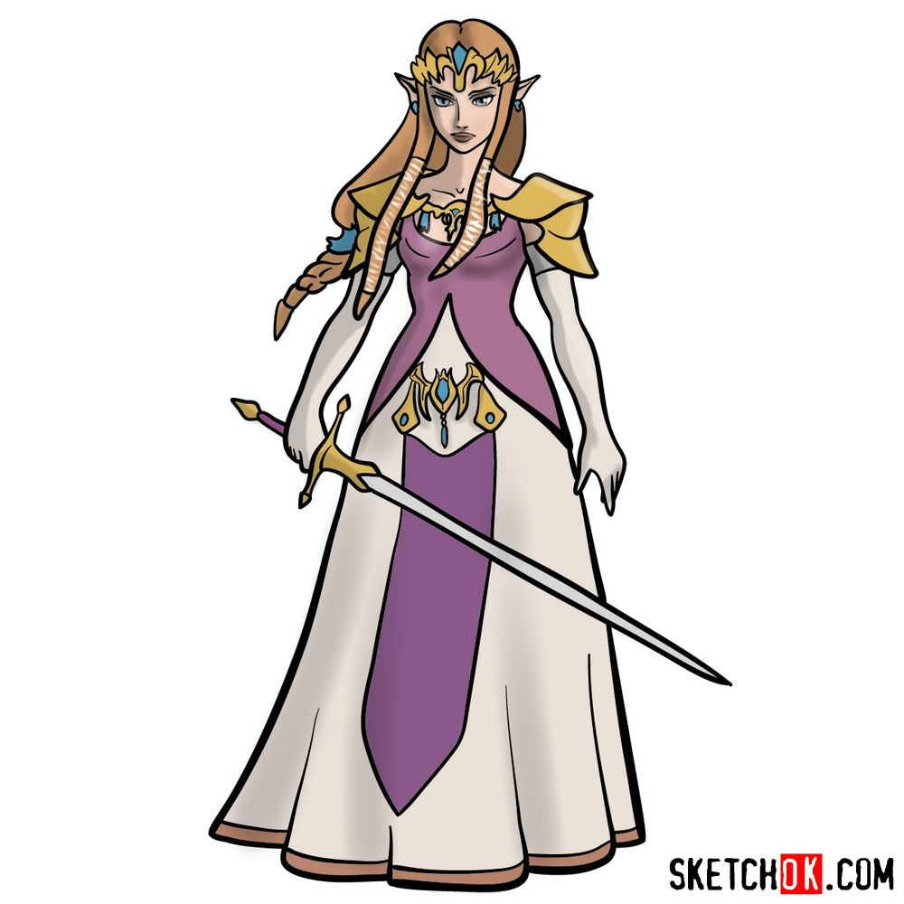 How to draw Princess Zelda (Ocarina of Time)