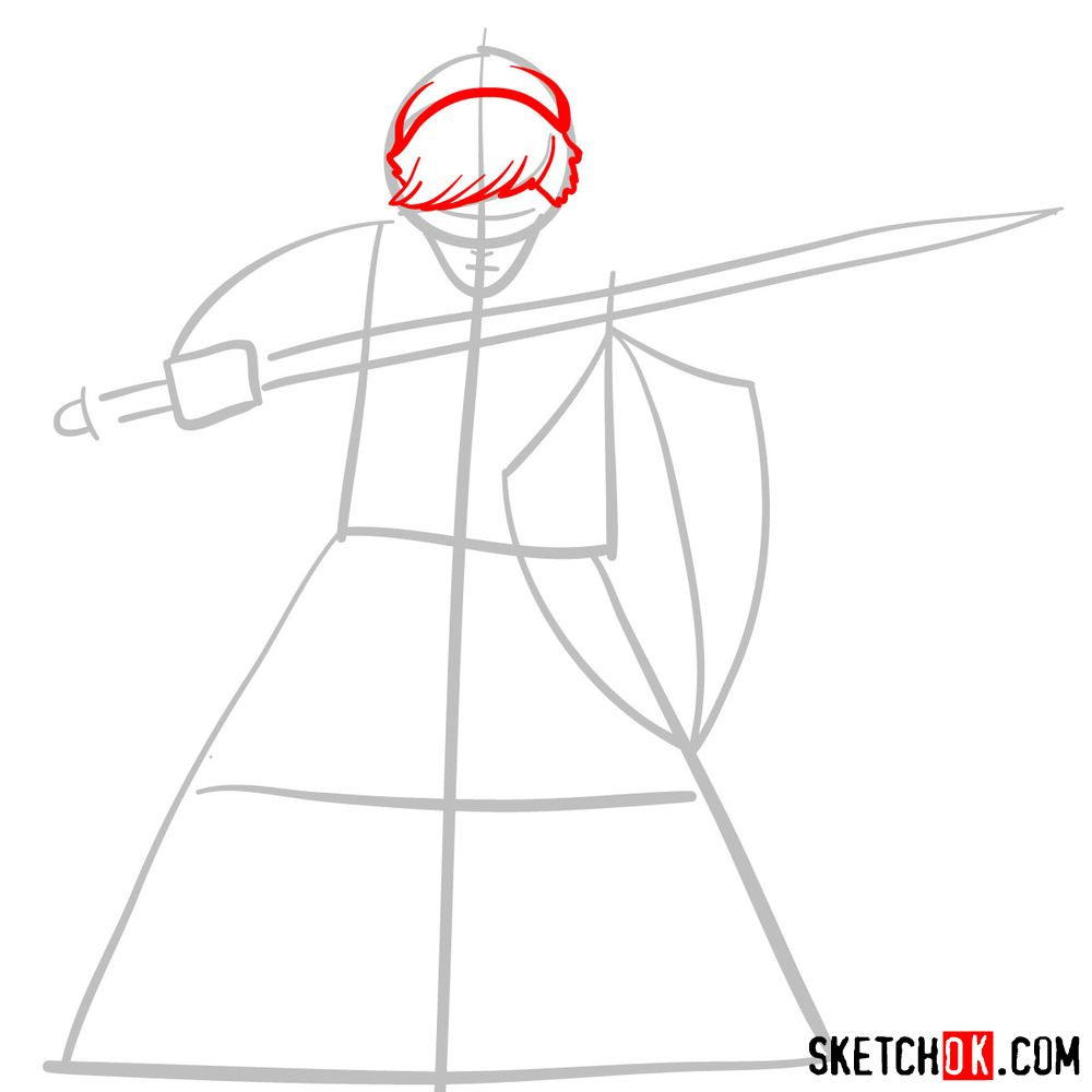 How to draw Link from The Legend of Zelda game - step 03