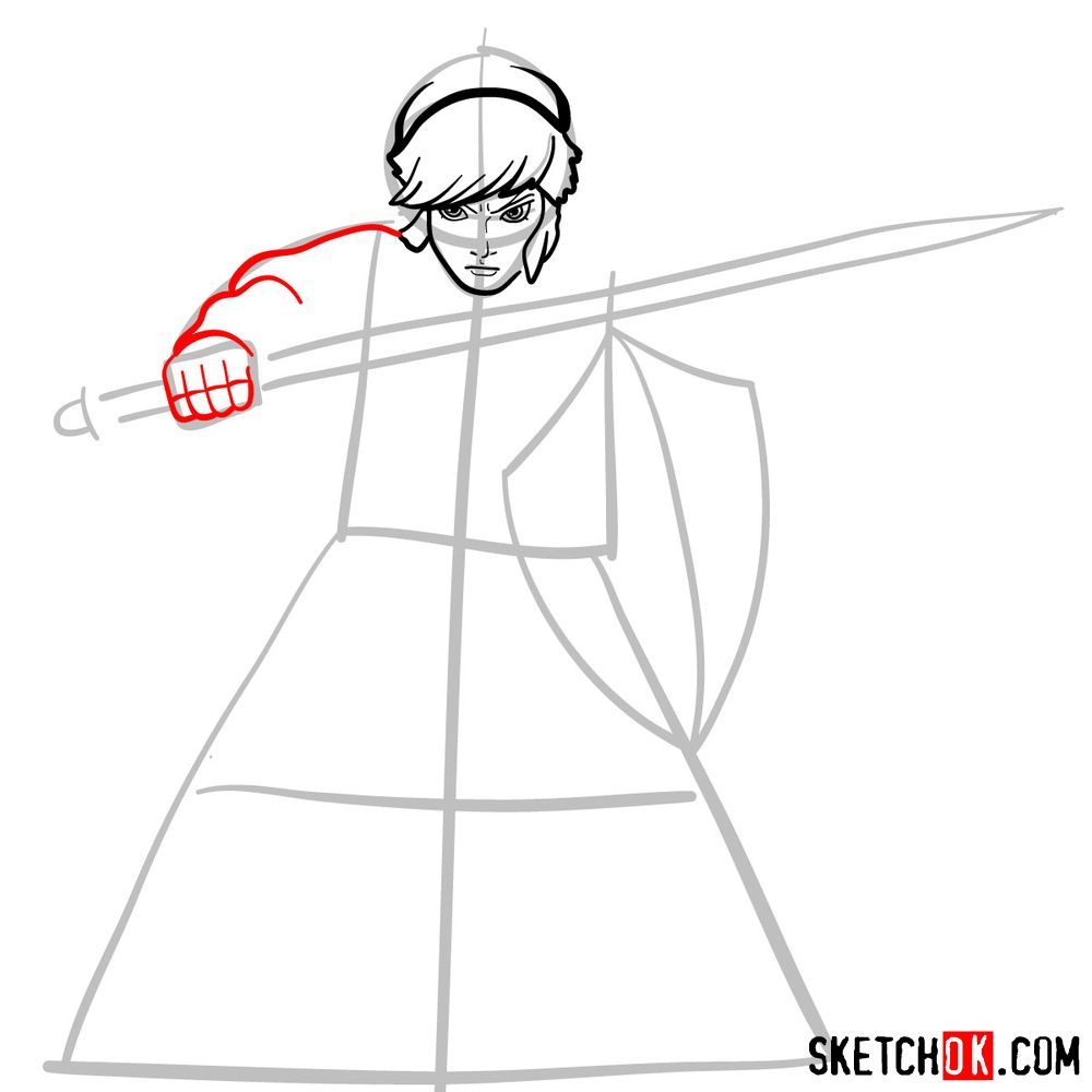 How to draw Link from The Legend of Zelda game - step 06