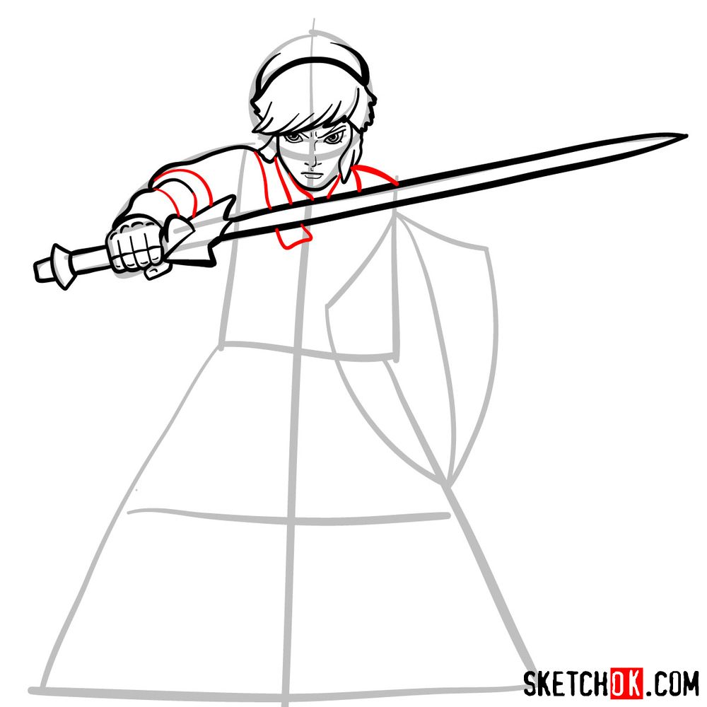 How to draw Link from The Legend of Zelda game - step 08