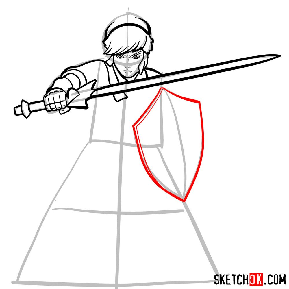 How to draw Link from The Legend of Zelda game - step 09